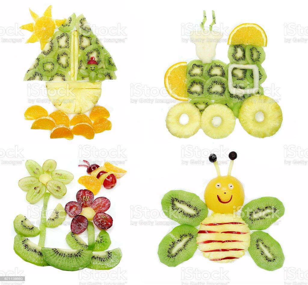 creative fruit child dessert collage stock photo