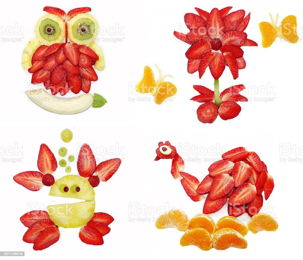 creative fruit child dessert owl bird form stock photo