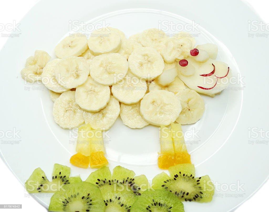 creative fruit child dessert ship animal form stock photo
