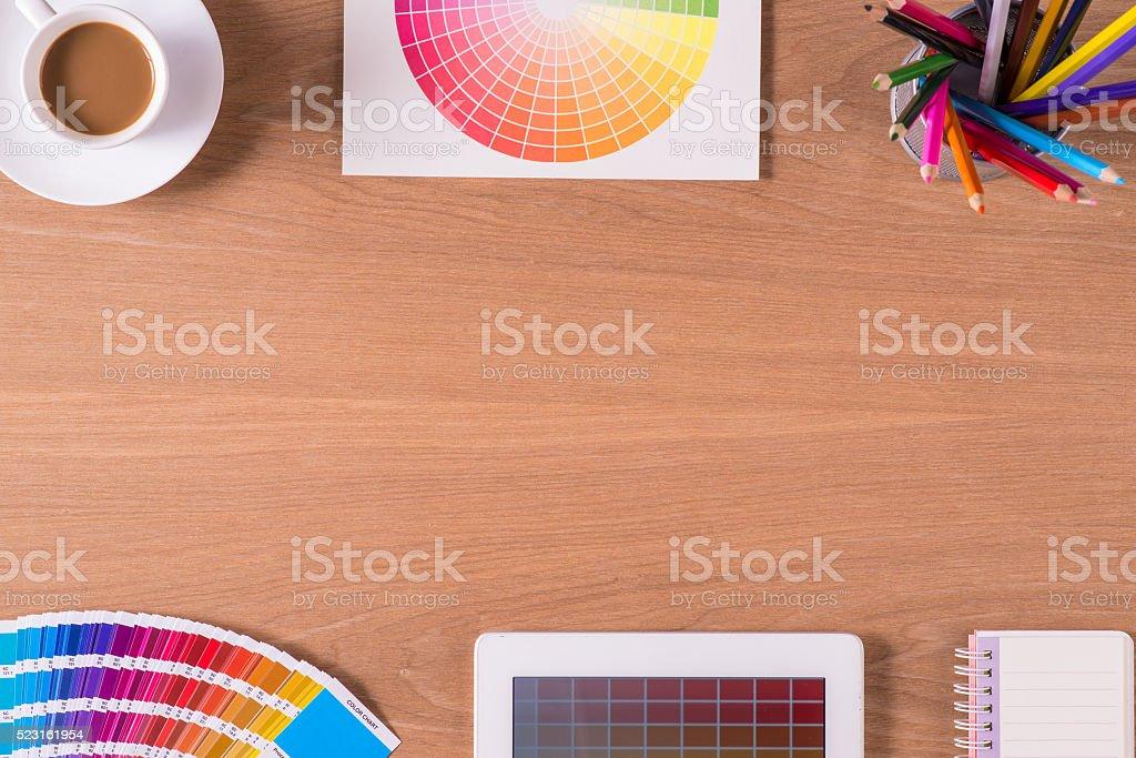 creative graphic design desk stock photo