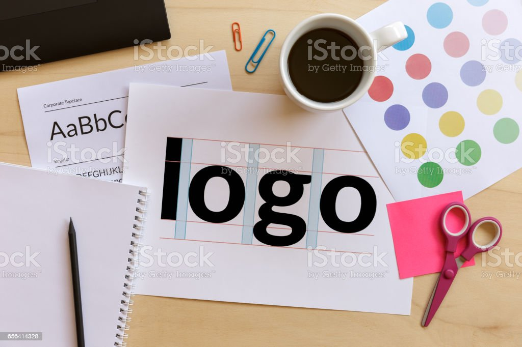 Creative graphic designer desk stock photo