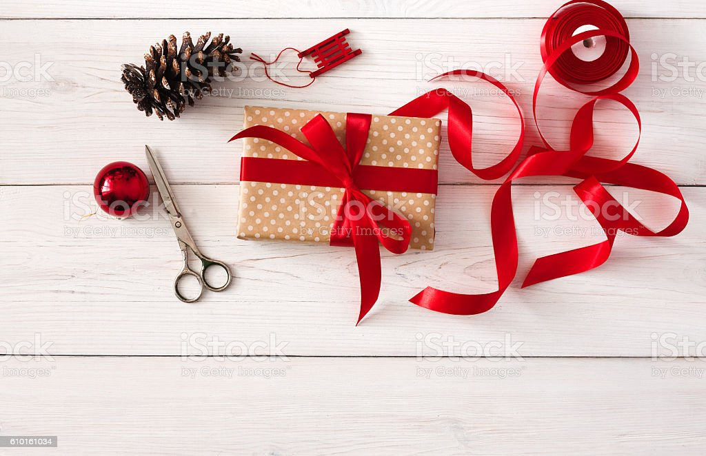 Creative hobby. Handmade tools for making christmas present in box stock photo