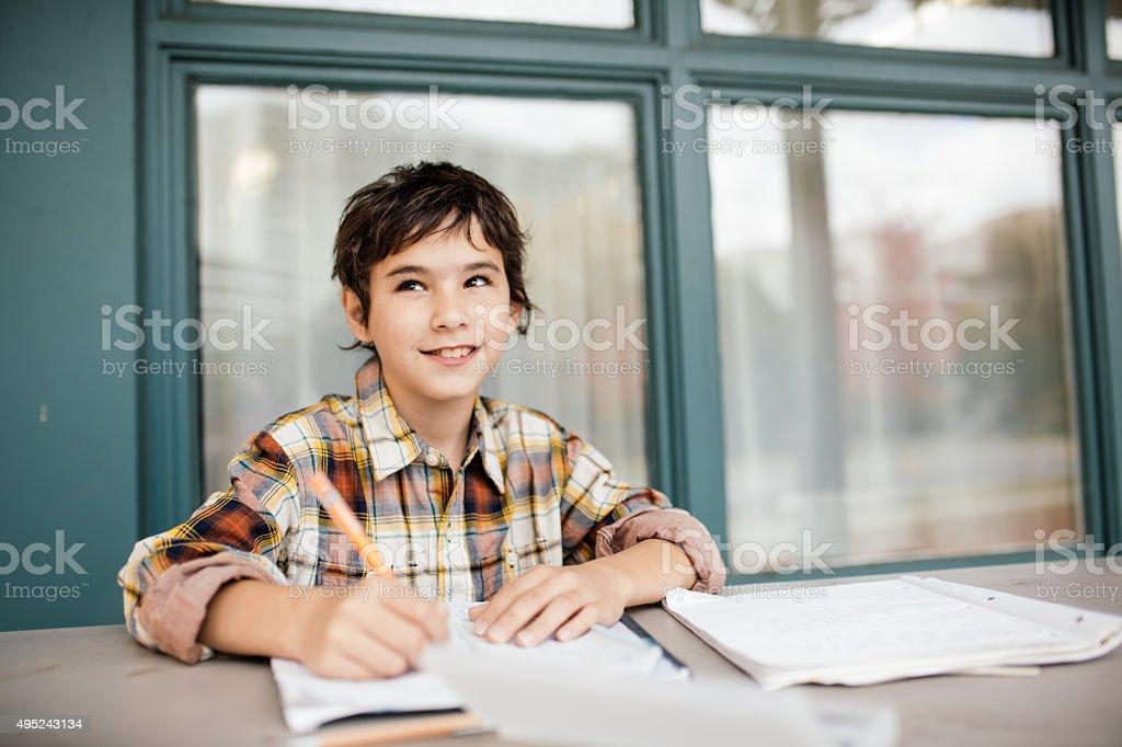 Creative homework stock photo