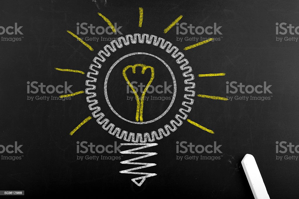 Creative light bulb sign stock photo
