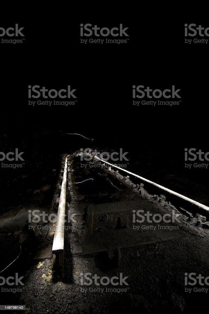 Creative lighting of old Rails stock photo