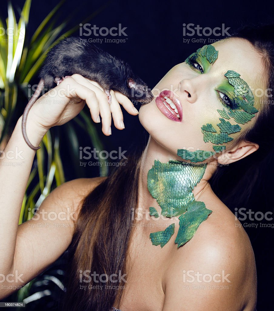 creative make up like snake royalty-free stock photo