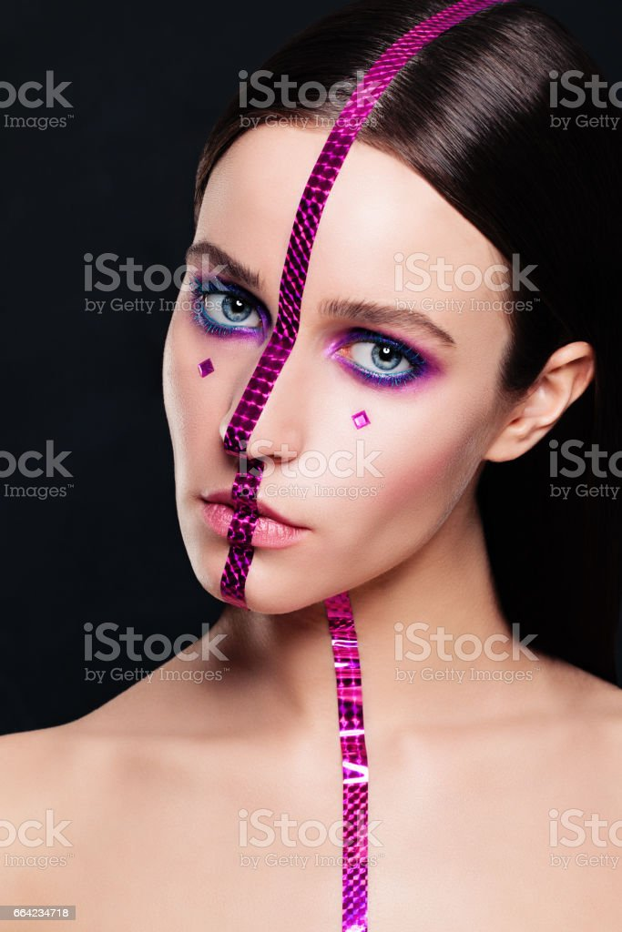 Creative Makeup. Fashion Portrait of Beautiful Woman stock photo