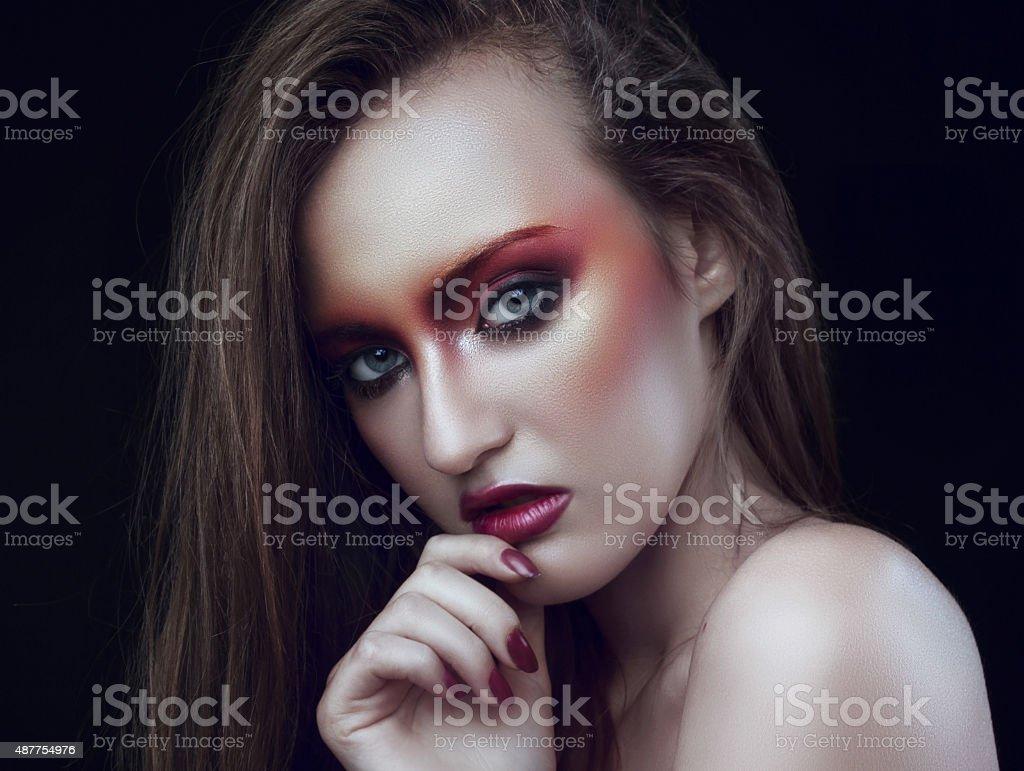 Creative orange makeup royalty-free stock photo