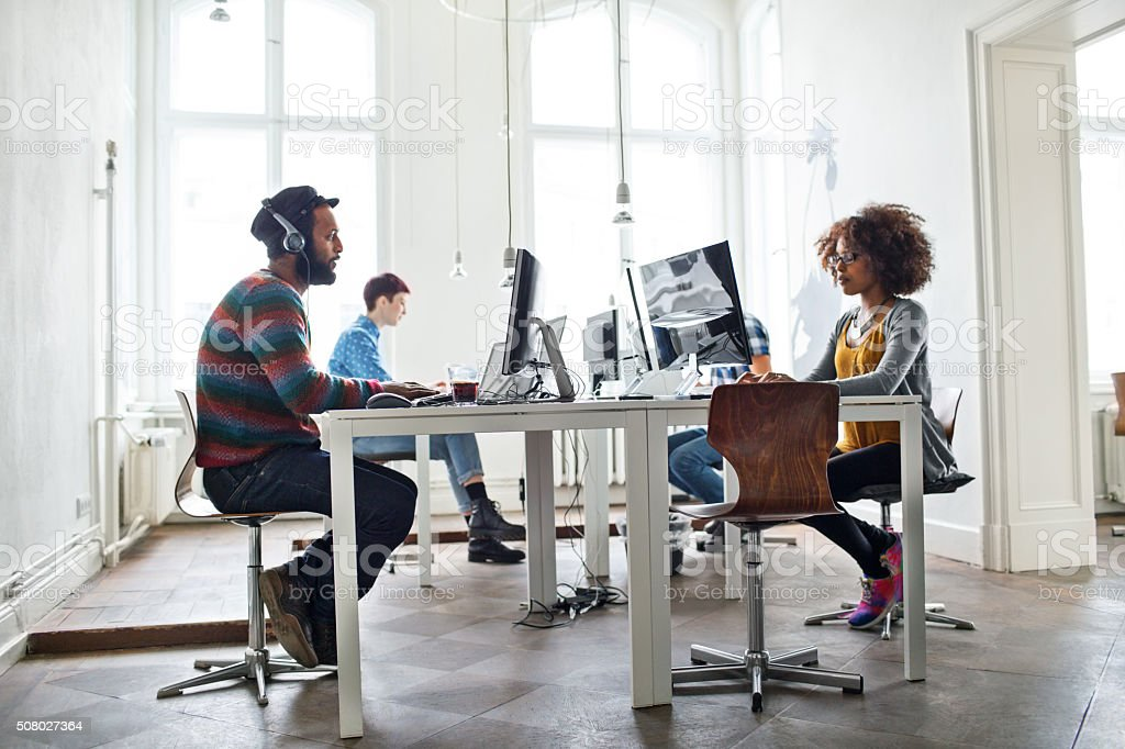 Creative people working at startup stock photo