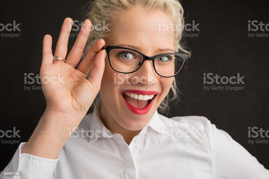 Creative person holding glasses stock photo