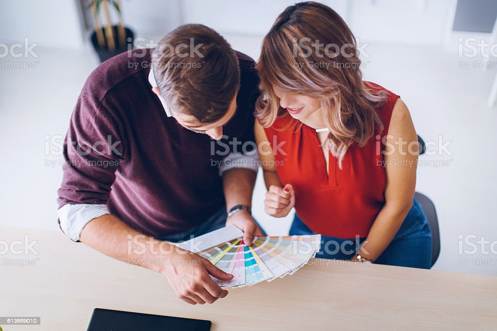 Interior designers working together in their workplace