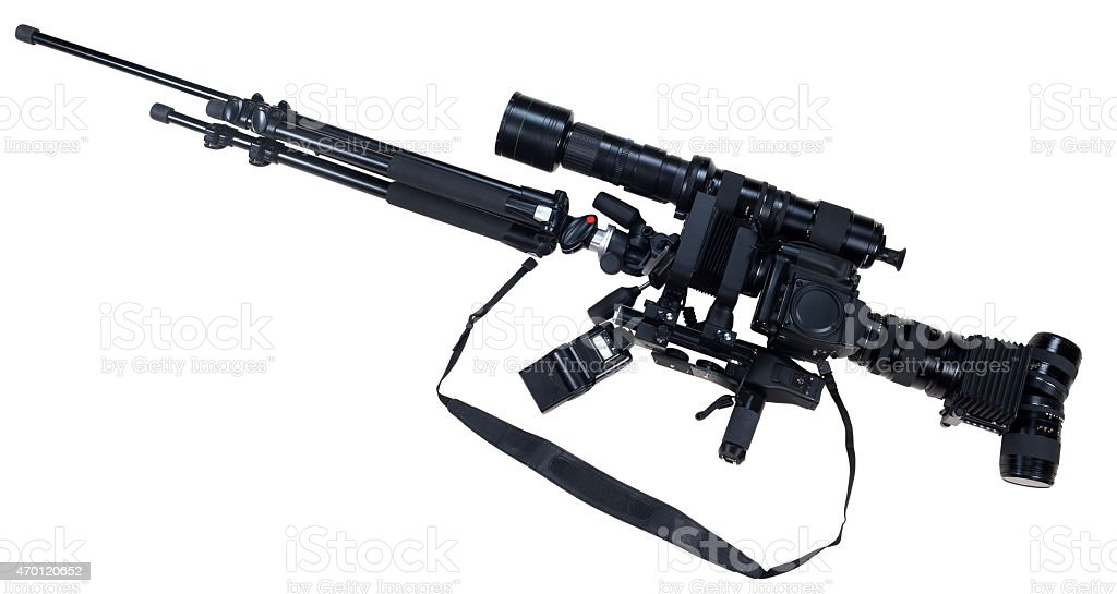 creative rifle from cameras isolated on white background stock photo