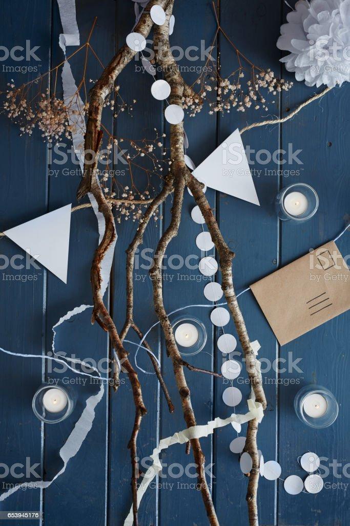 creative scene birch tree and candles stock photo