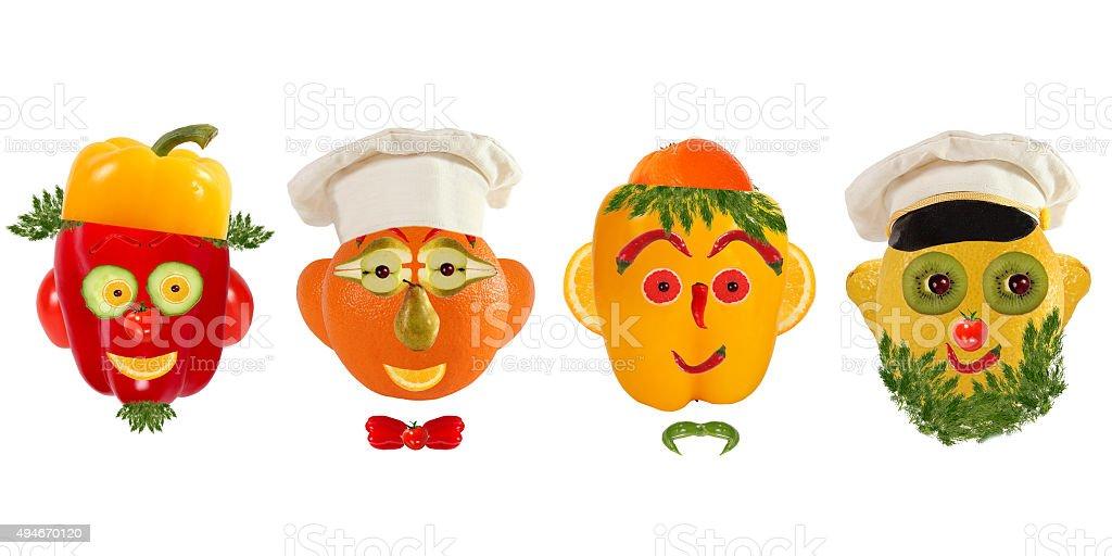 Creative set of food concept. Few  funny portraits from vegeta stock photo