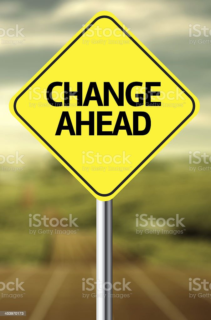 Creative sign with the message - Change Ahead stock photo