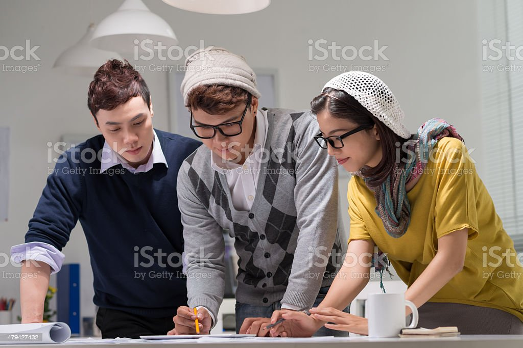 Creative team at work stock photo