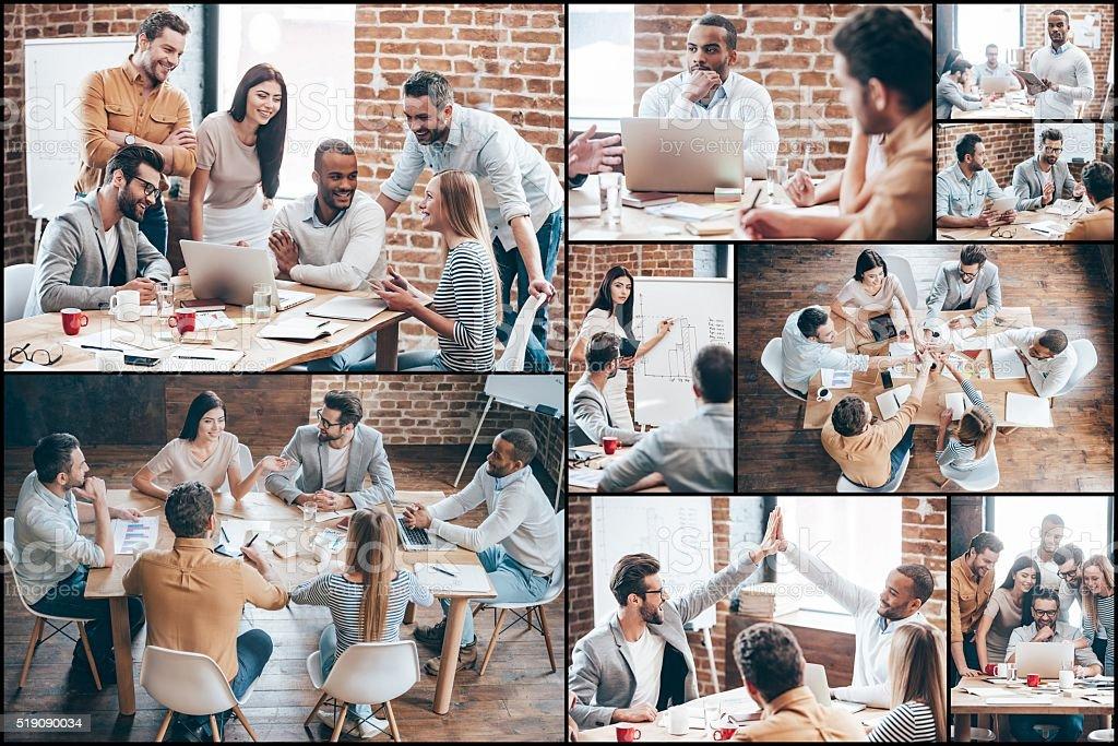 Creative team at work. stock photo