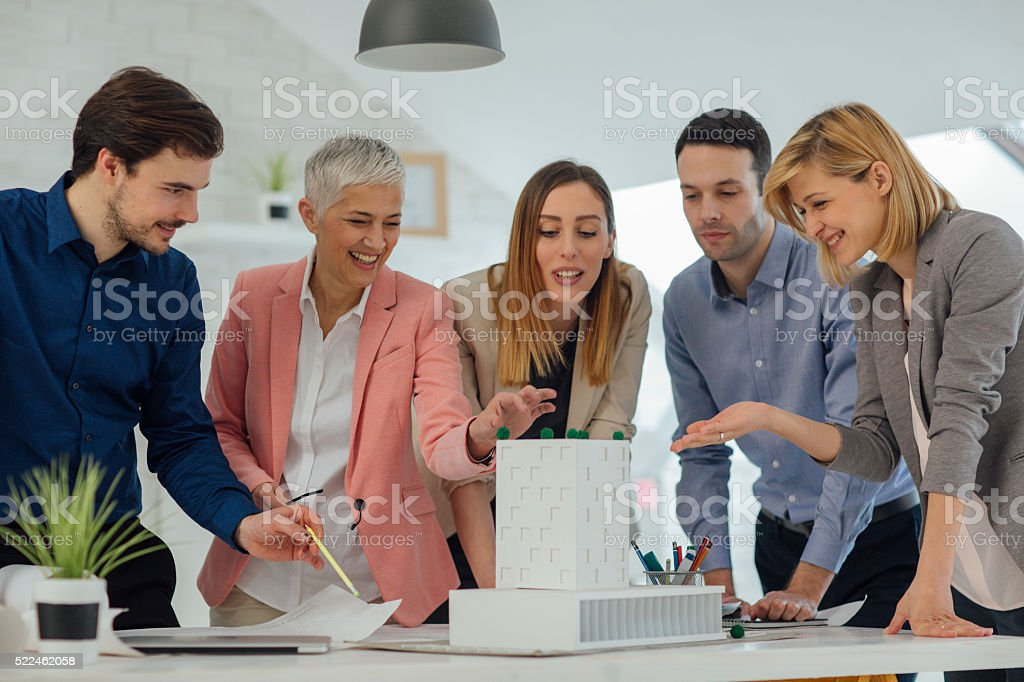 Creative Team Brainstorming In The Office. stock photo