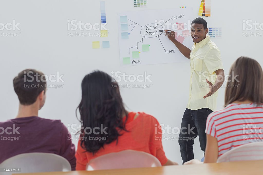 Creative team listening to man presenting flowchart royalty-free stock photo