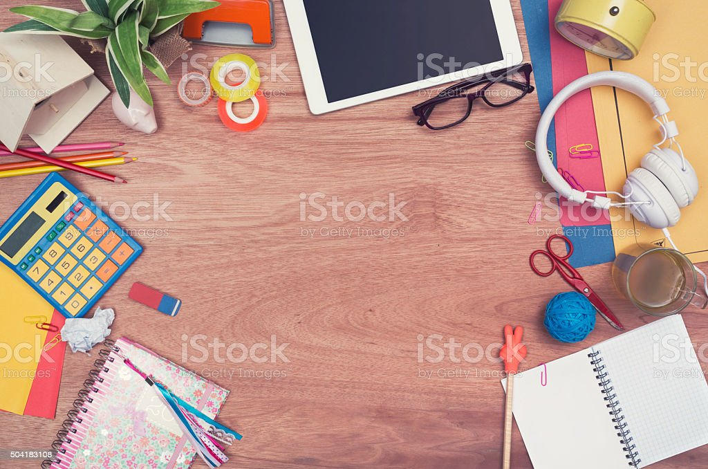 creative teenage desk hero header stock photo