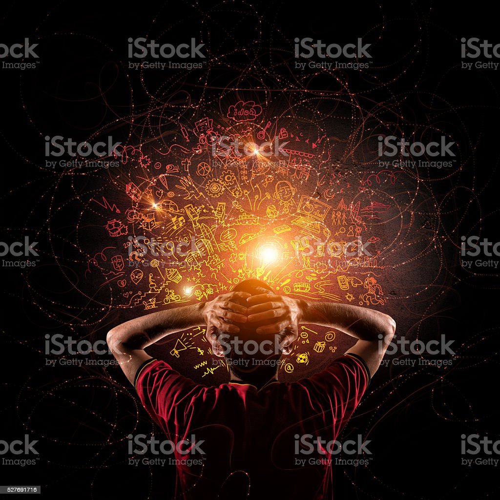 creative thinking doodle stock photo