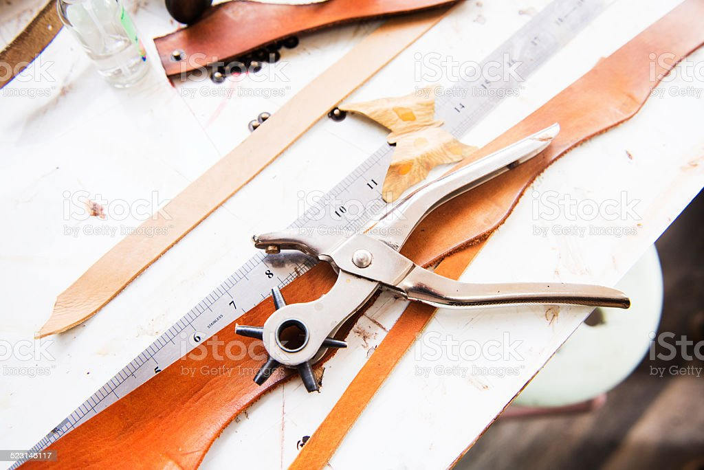 Creative Tools on Drafting Table in Artist Studio stock photo