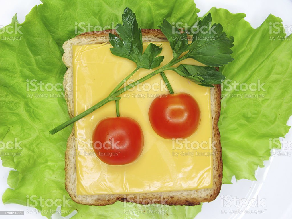 creative vegetable sandwich with cheese and tomato royalty-free stock photo