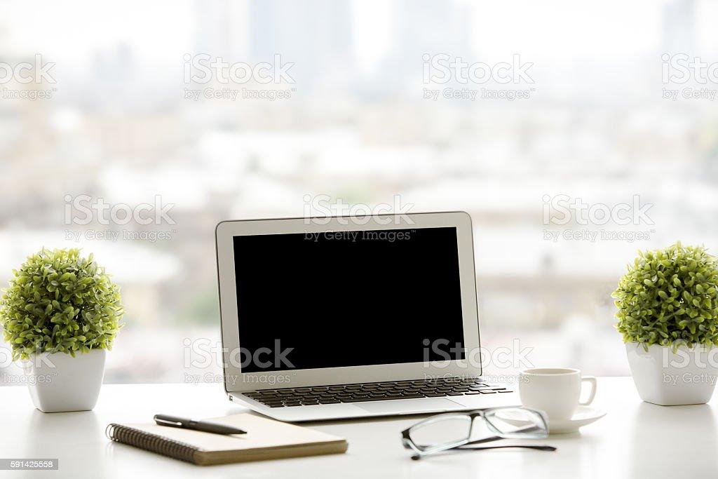 Creative windowsill workplace stock photo
