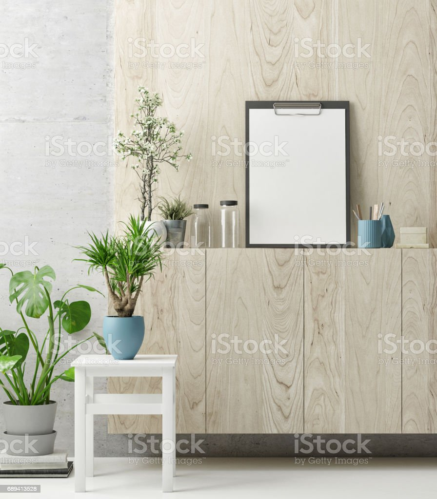Creative work space, green plants and mock up poster stock photo
