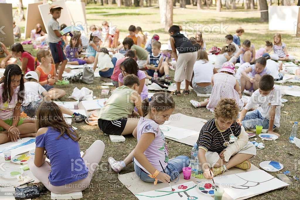 Creative workshop for kids in the city park royalty-free stock photo