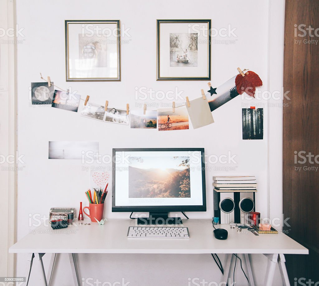 creative workspace desk stock photo