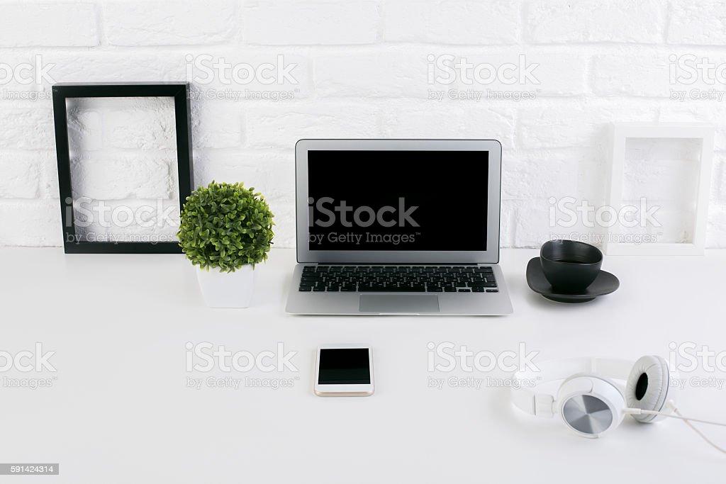 Creative workspace stock photo