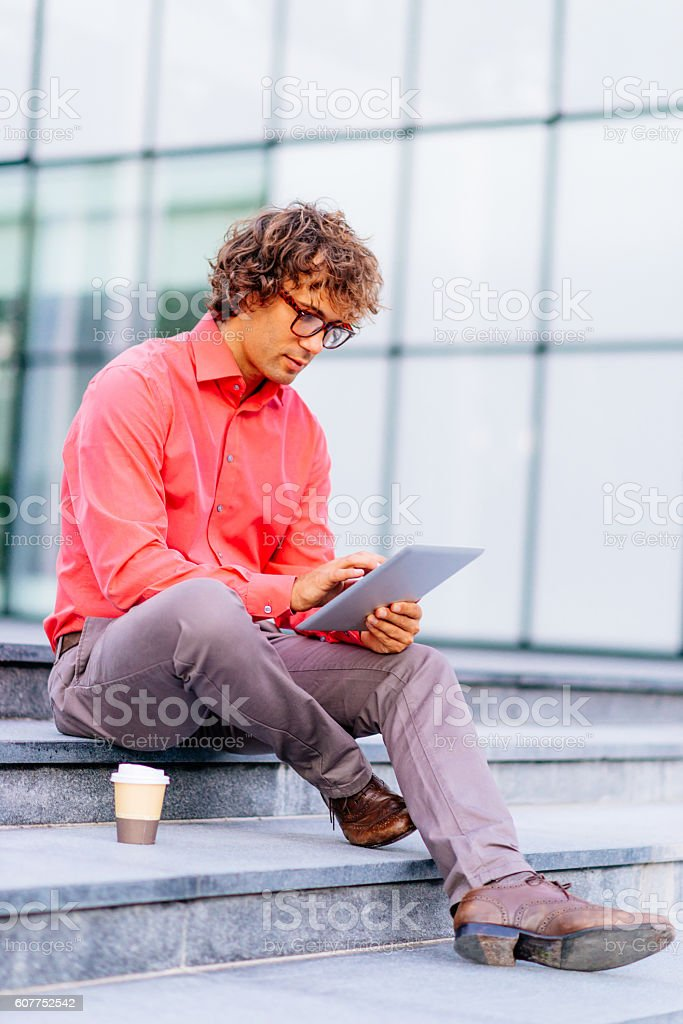 Creative young businessman drafting start-up idea stock photo