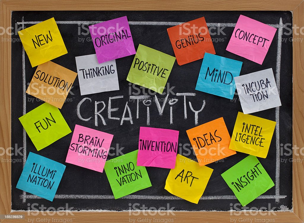 Creativity brainstorm of creative words notes on blackboard royalty-free stock photo