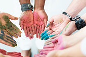 creativity circle with colorful hands