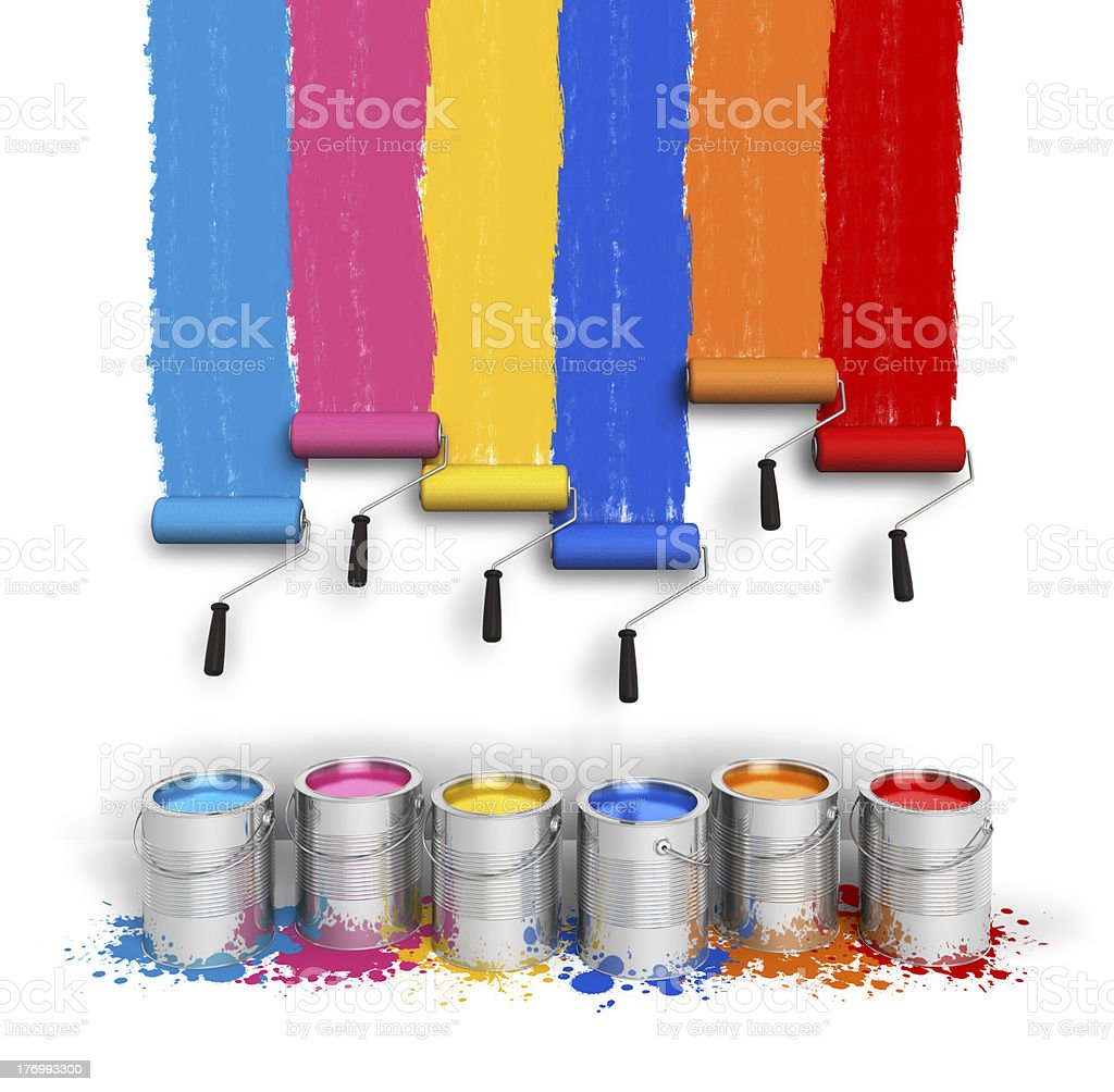 Creativity concept: color roller brushes with trails of paint stock photo