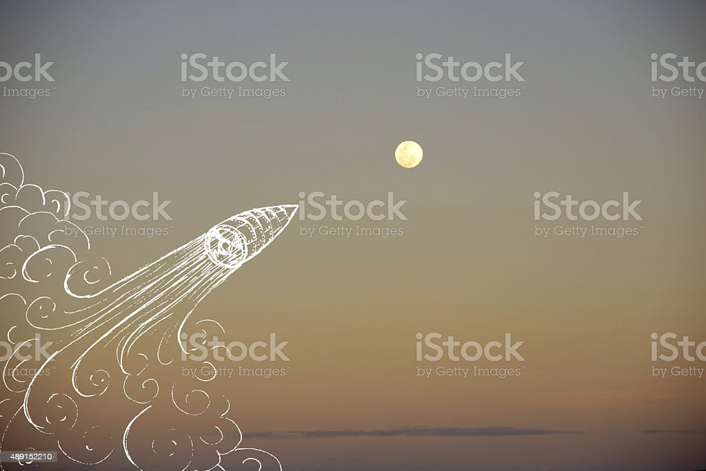 Creativity concept moon space ship background stock photo