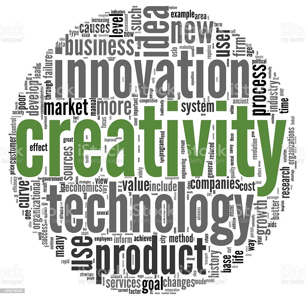 Creativity concept words in tag cloud stock photo
