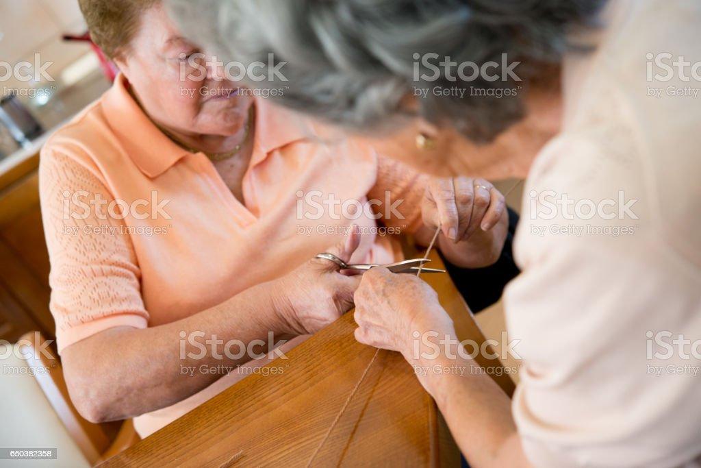 Creativity Day In Elderly Day Care Center stock photo