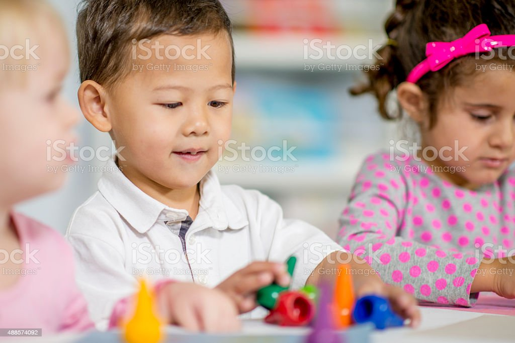 Creativity in Child Art Class stock photo
