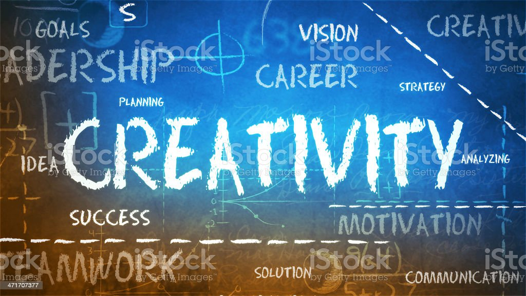 Creativity on a chalkboard royalty-free stock photo