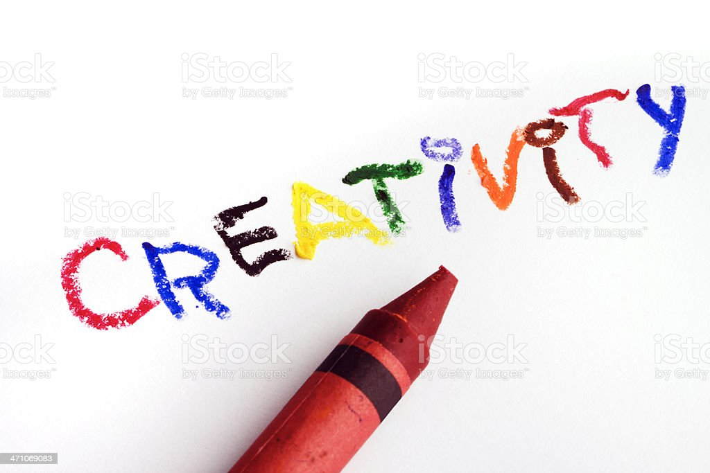 Creativity with Crayon Art Education of Coloring, Drawing, Writing Text royalty-free stock photo