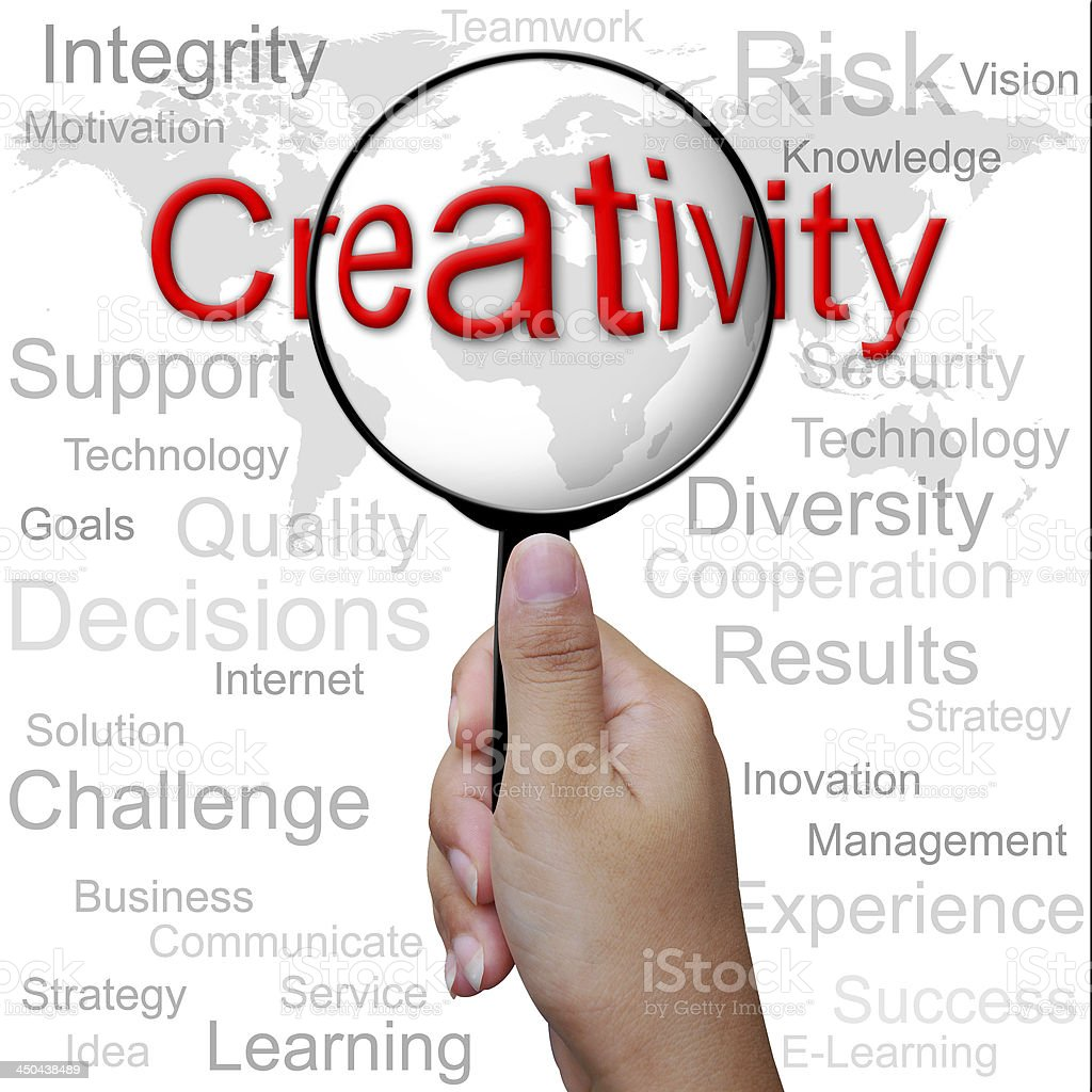 Creativity, word in Magnifying glass ,business background royalty-free stock photo
