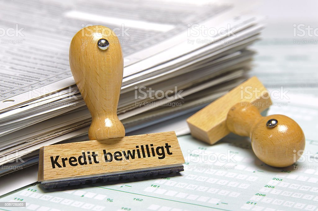 Kredit bewilligt - credit accepted stock photo