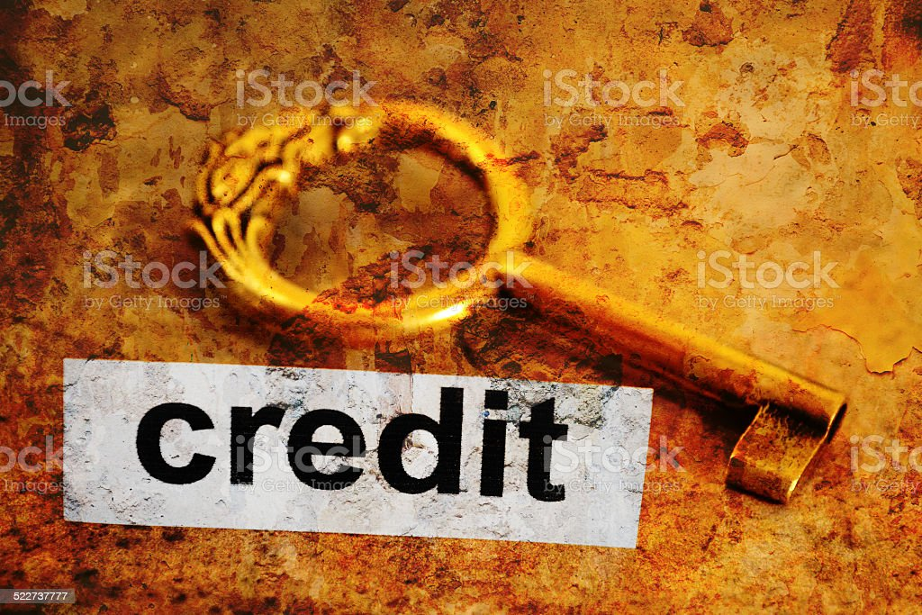 Credit and key concept stock photo