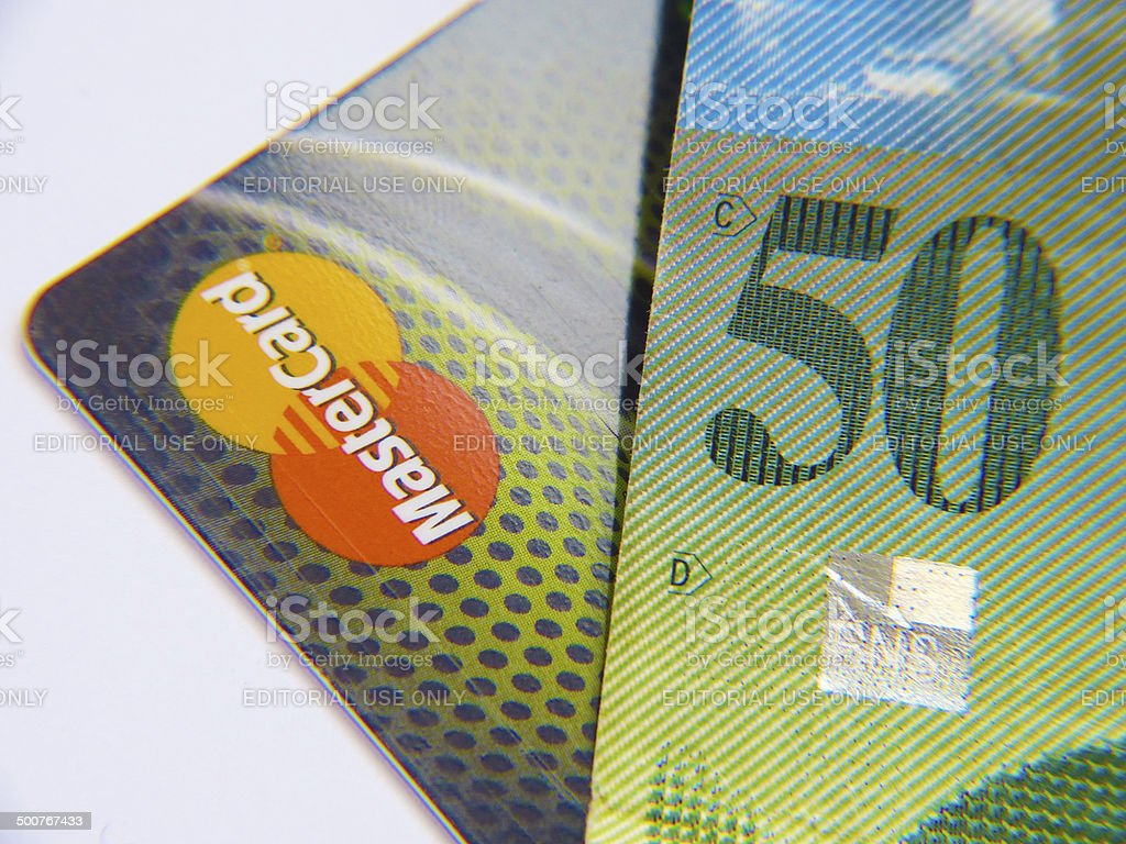 Credit card and banknote stock photo