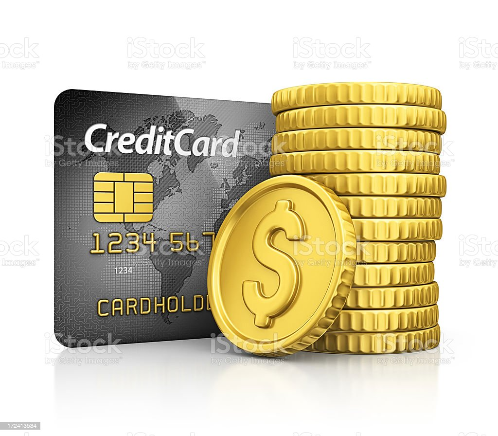 credit card and coins royalty-free stock photo