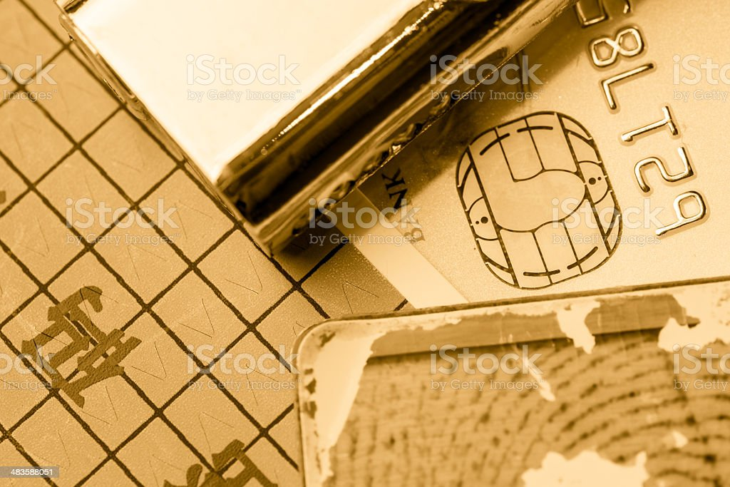 Credit card and dactylogram fingerprint lock stock photo