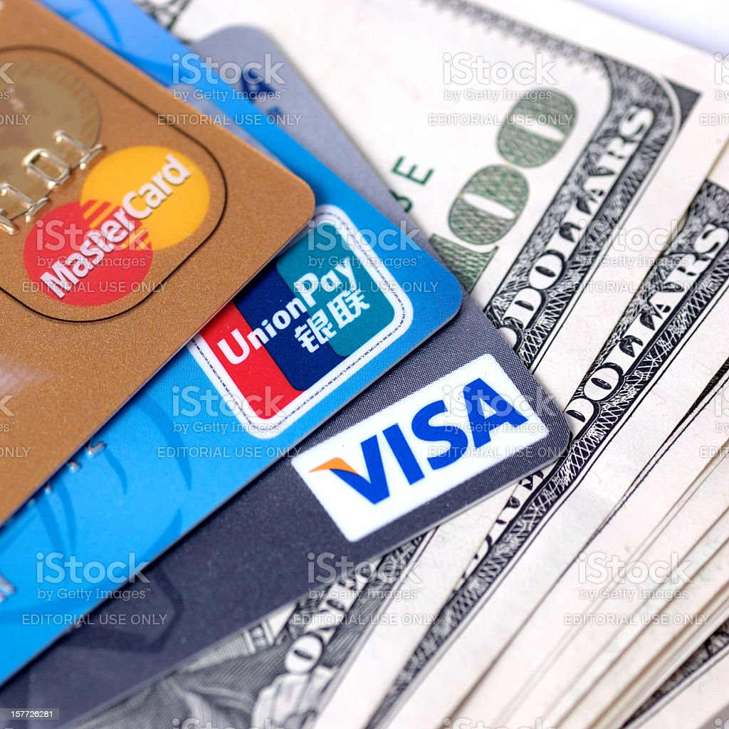 credit card and dollar cash stock photo