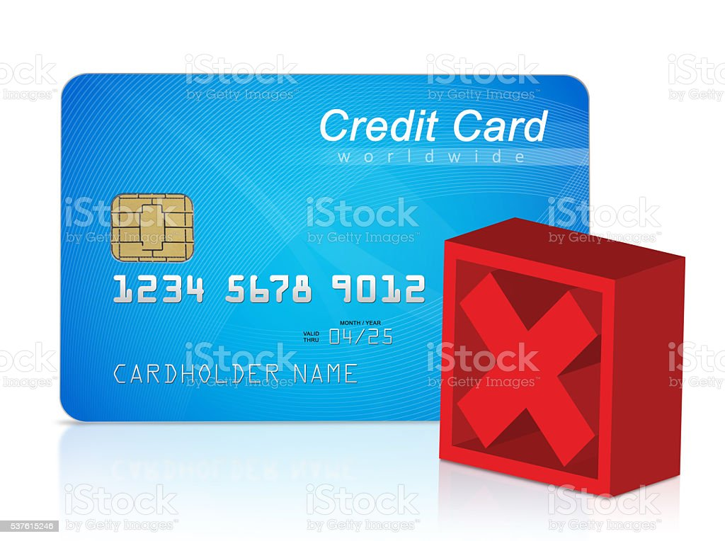 Credit card and red cross mark stock photo
